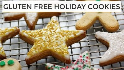 gluten free holiday cookies decorated displayed on metal cooking tray